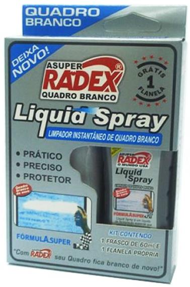 LIMPADOR QUADRO BRANCO SPRAY 60ML + FLANELA RADEX