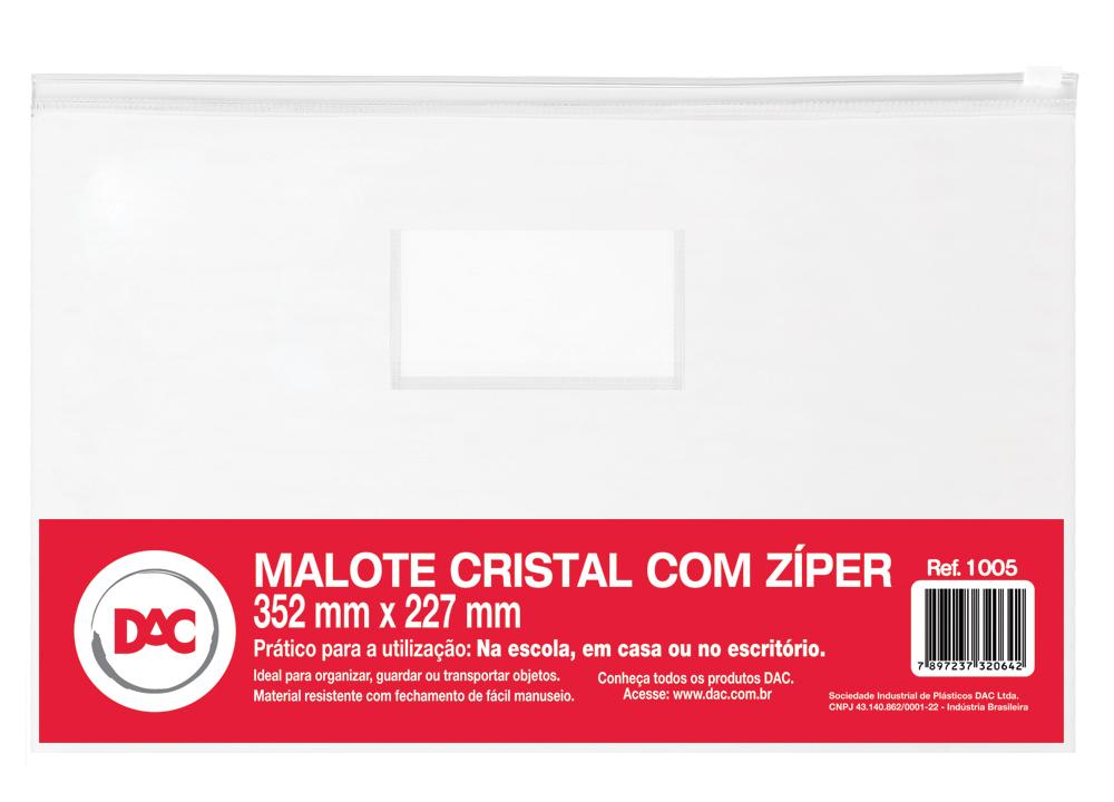 MALOTE PVC CRISTAL 352X2270MM C/ZIPER SLIDE BRANCO E VISOR 1005 DAC