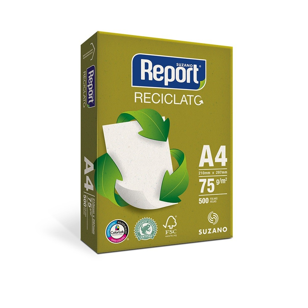 PAPEL SULFITE A4 RECICLADO 210X297MM 75G 500FL REPORT