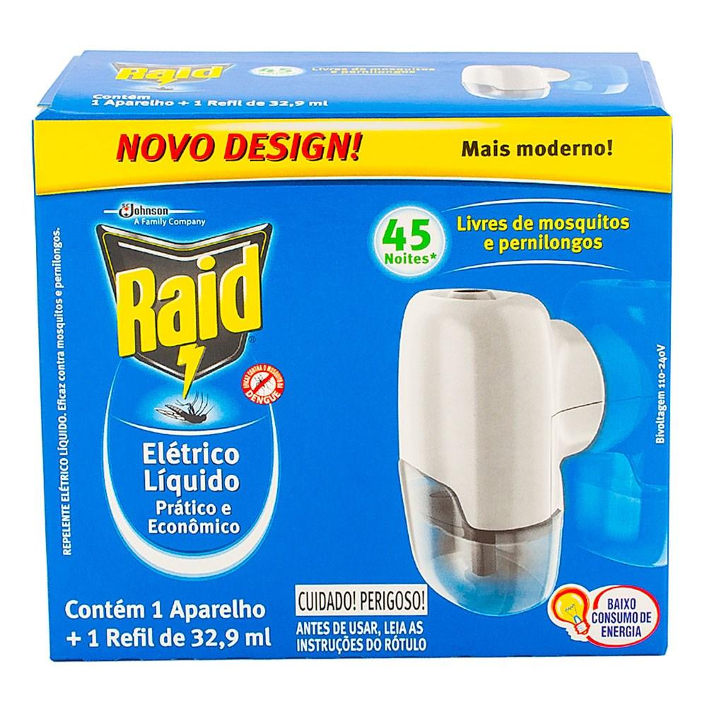 INSETICIDA ELETRICO LIQUIDO 45 NOITES APARELHO COM REFIL 32,9ML 1UN RAID
