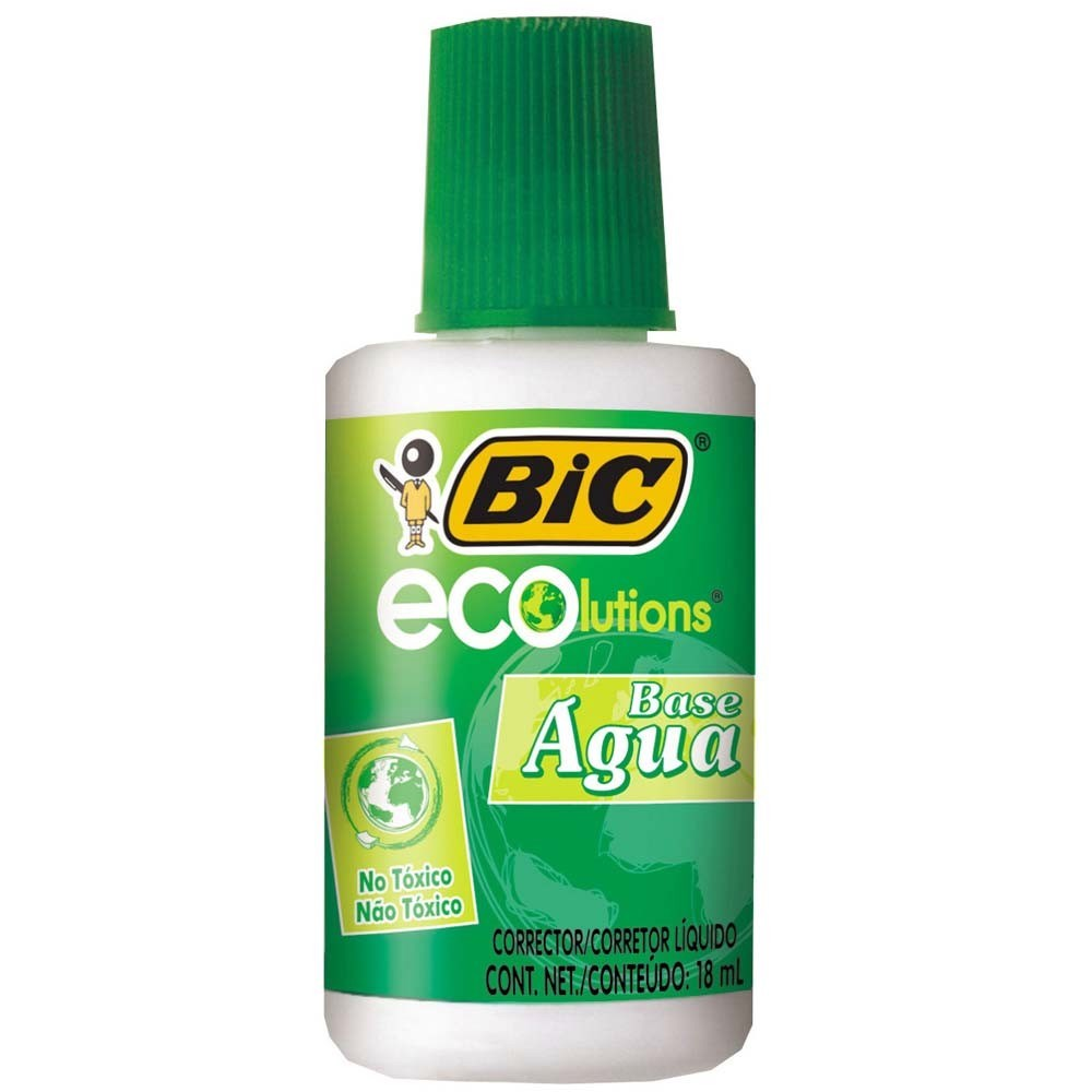 CORRETIVO LIQUIDO 18ML BASE AGUA ECOLUTIONS BIC