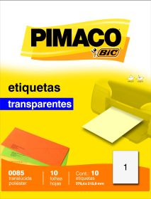ETIQUETA 0085 279,4X215,9MM 1 P/FL 10FL TRANSPAREN PIMACO
