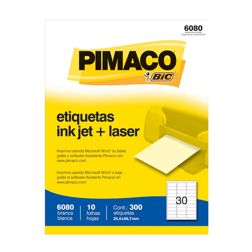 ETIQUETA 6080 25,4X66,7MM 30 P/FL 10FL PIMACO