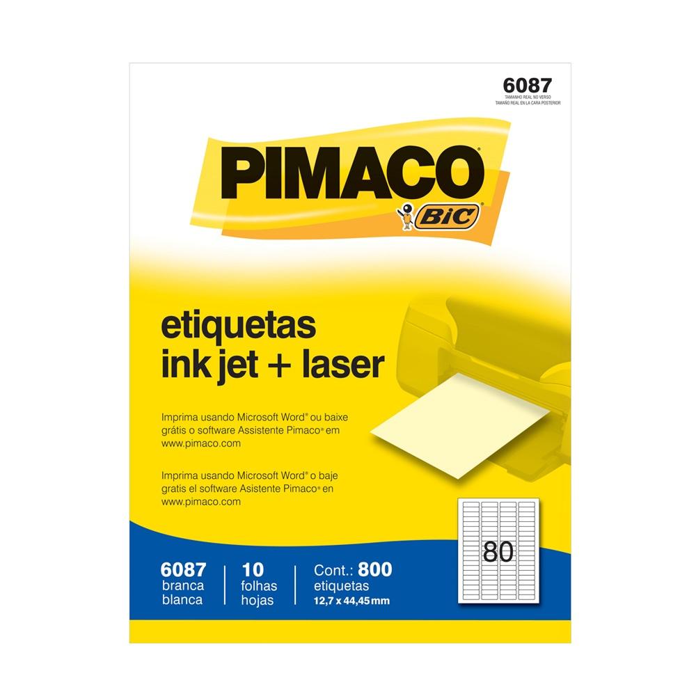 ETIQUETA 6087 12,7X44,45MM 80 P/FL 10FL PIMACO