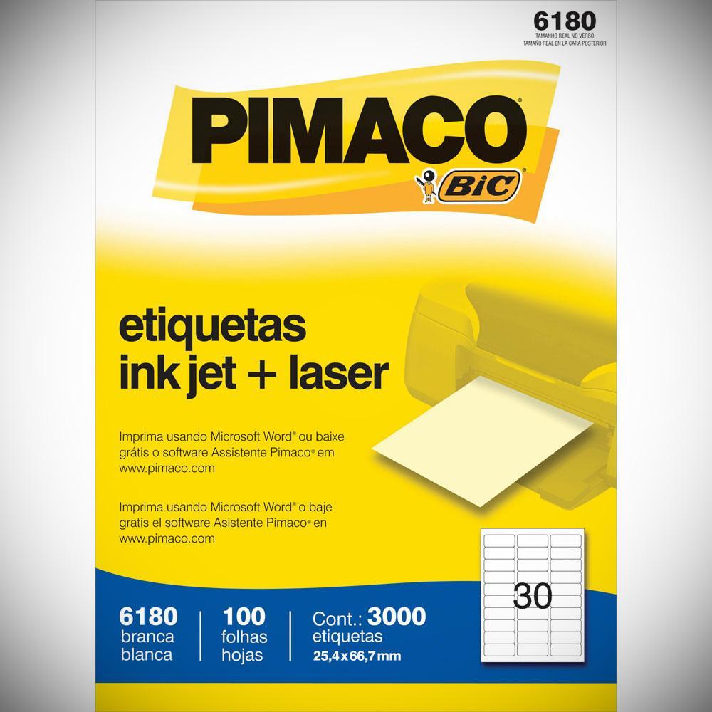 ETIQUETA 6180 25,4X66,7MM 30 P/ FL 100FL PIMACO