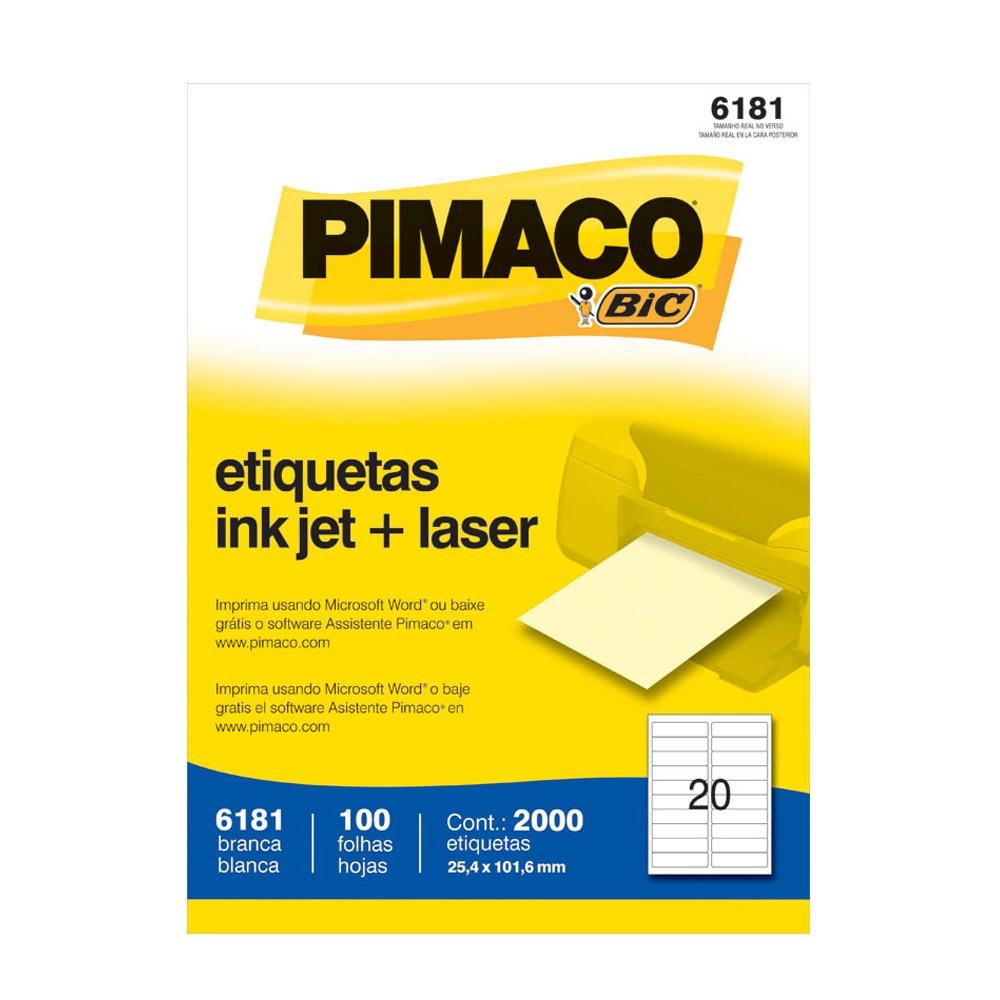ETIQUETA 6181 25,4X101,6MM 20 P/FL 100FL PIMACO