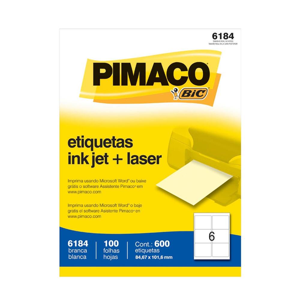ETIQUETA 6184 84,67X101,6MM 6 P/FL 100FL PIMACO