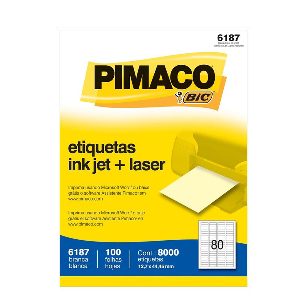 ETIQUETA 6187 12,7X44,45MM 80 P/FL 100FL PIMACO