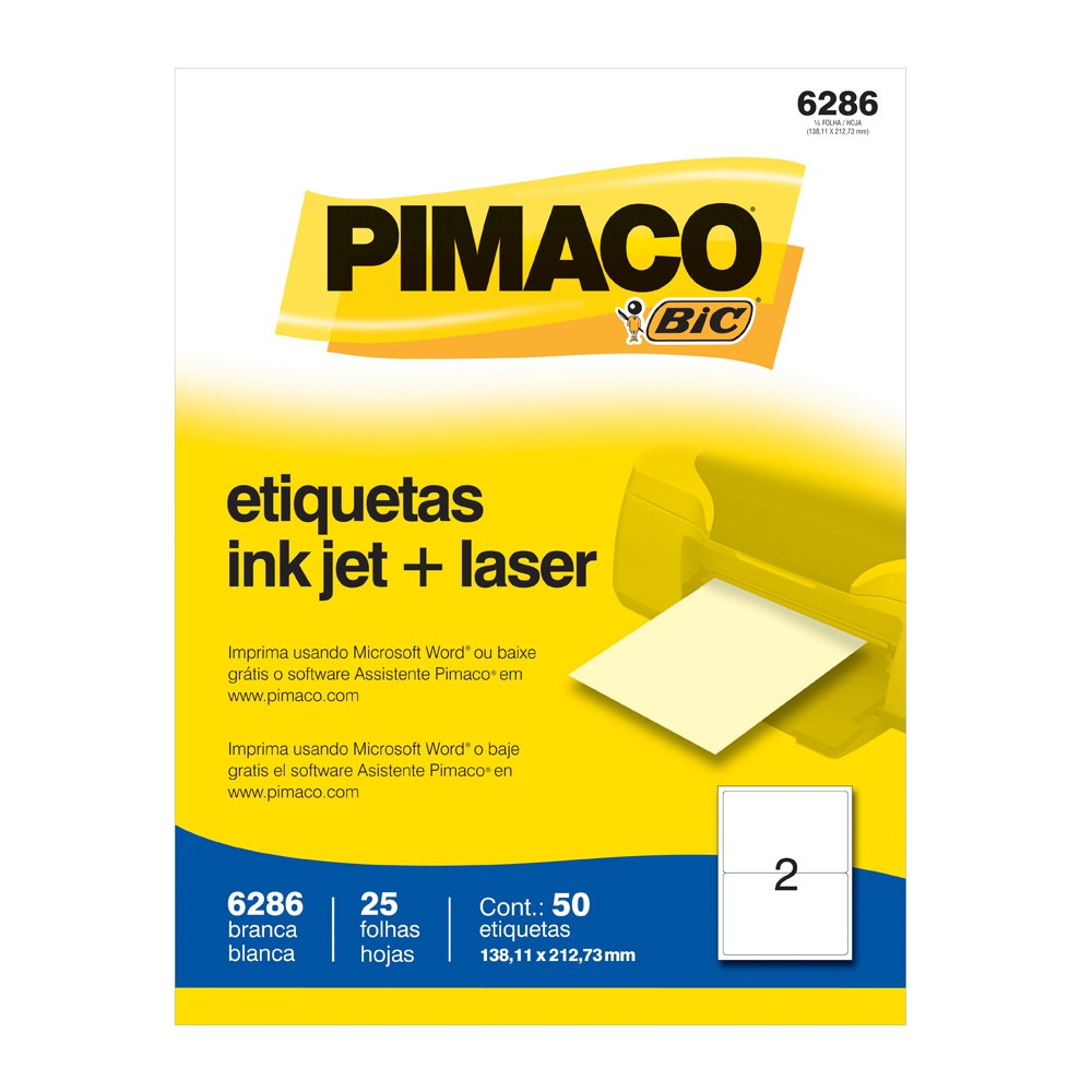 ETIQUETA 6286 138,11X212,73MM 2 P/FL 25FL PIMACO