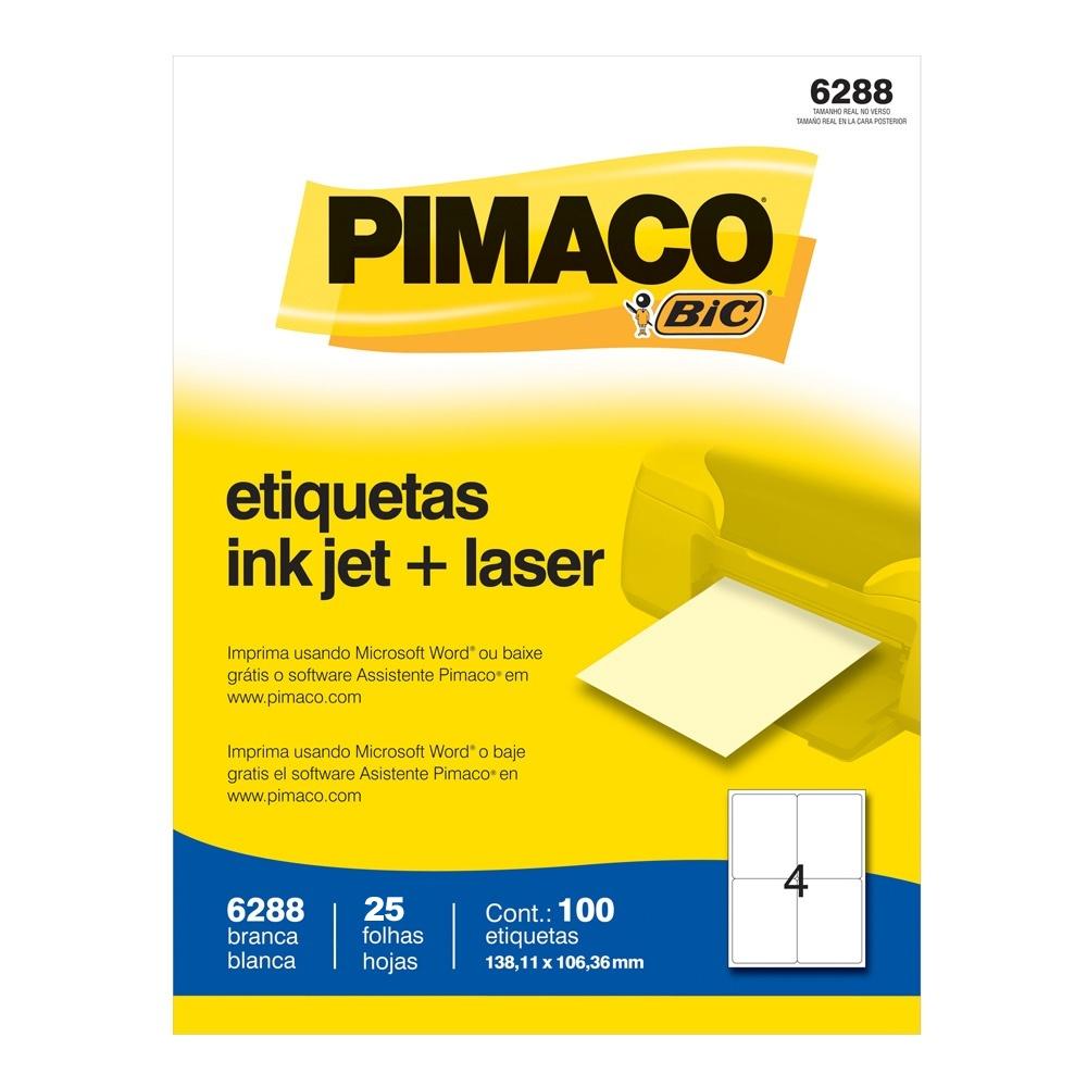 ETIQUETA 6288 138,11X106,36MM 4 P/FL 25FL PIMACO