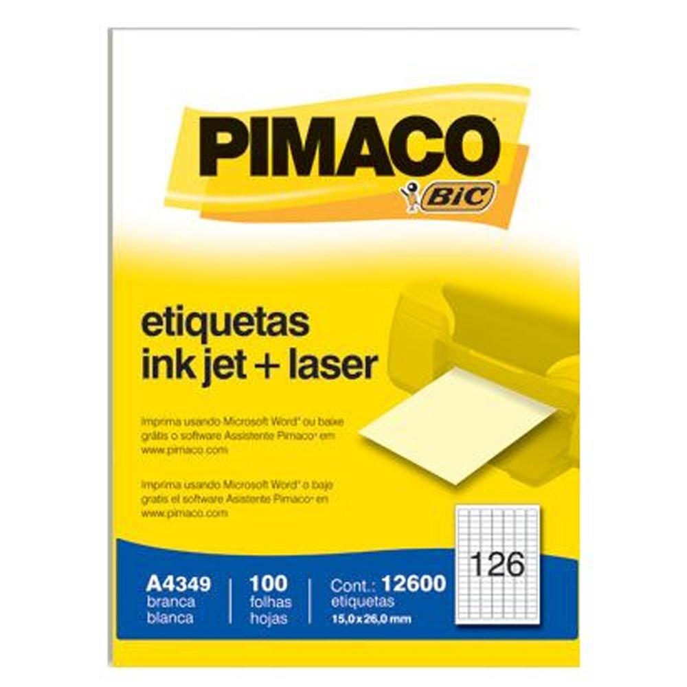 ETIQUETA A4349 15,0X26,0MM 126 P/FL 100FL PIMACO