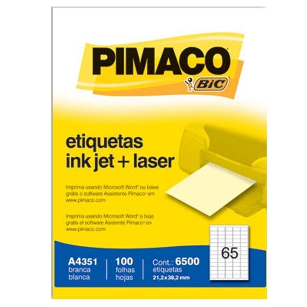 ETIQUETA A4351 21,2X38,2MM 65 P/FL 100FL PIMACO