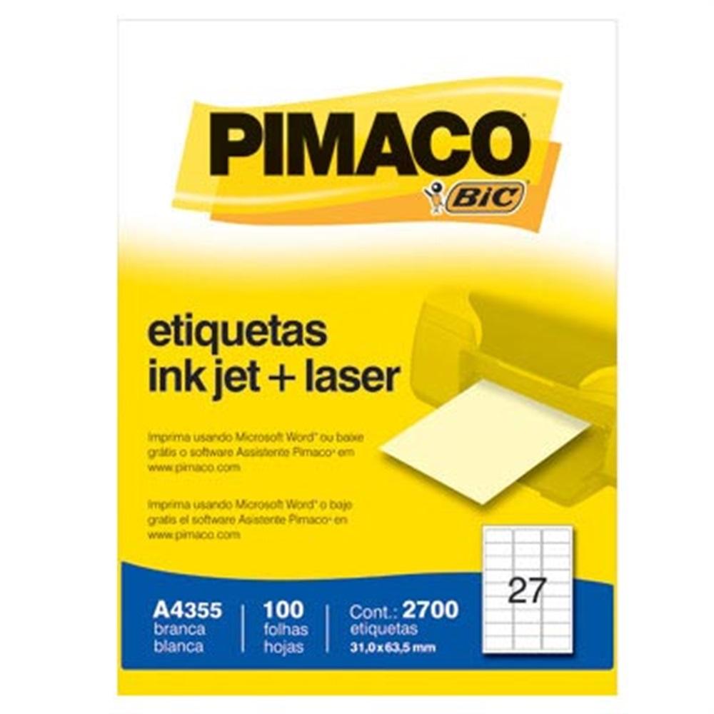 ETIQUETA A4355 31,0X63,5MM 27 P/FL 100FL PIMACO