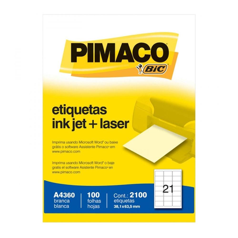 ETIQUETA A4360 38,1X63,5MM 21 P/FL 100FL PIMACO