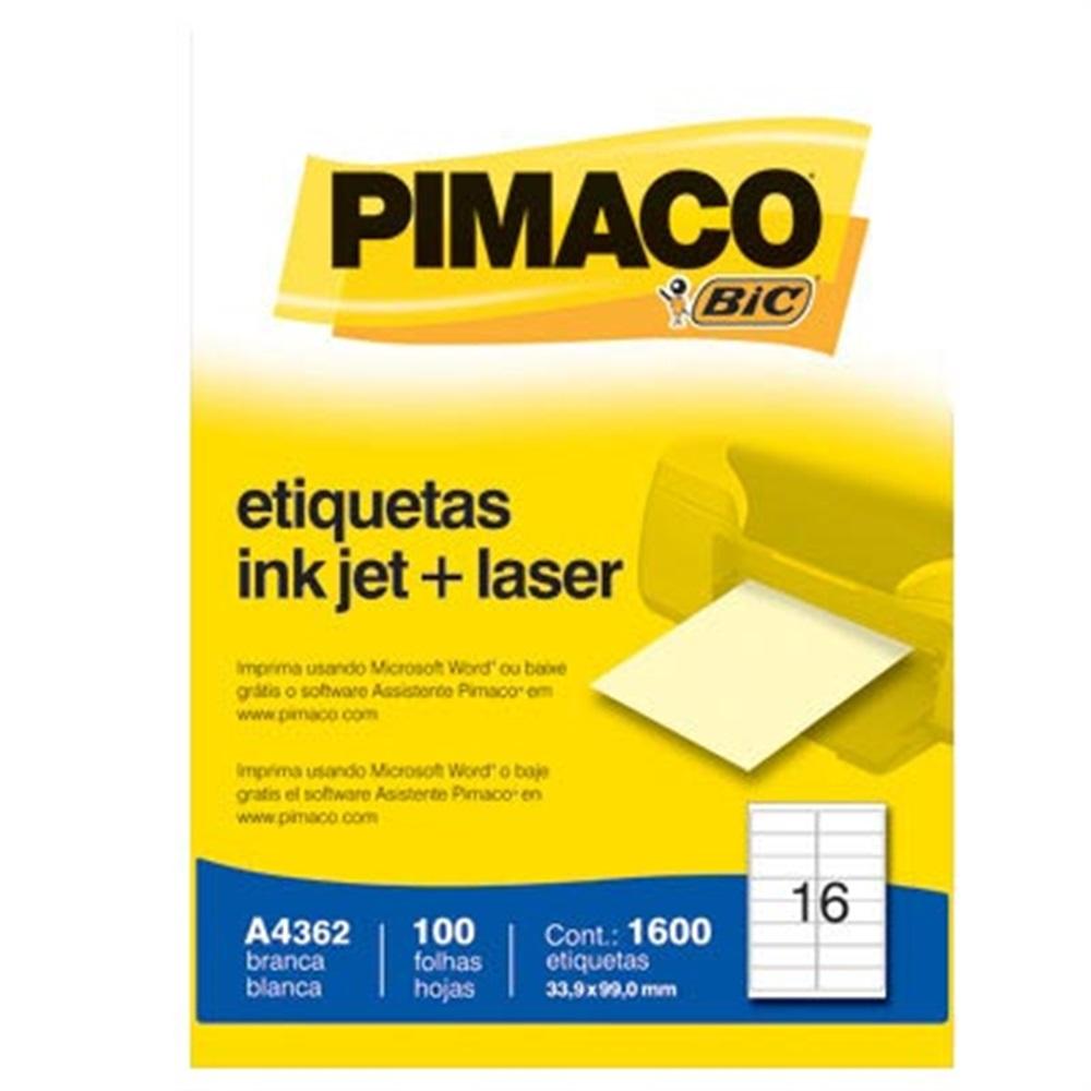 ETIQUETA INKJET E LASER A4362 33,9X99,0MM BRANCA CX 1600UN PIMACO