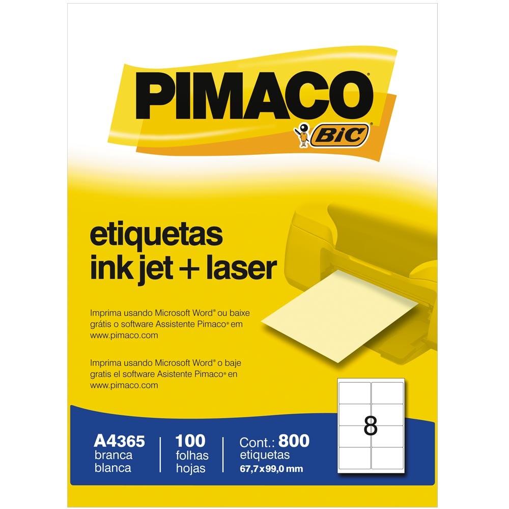 ETIQUETA INKJET E LASER A4365 67,7X99,0MM BRANCA CX 800UN PIMACO