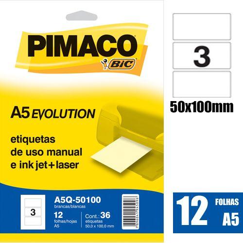 ETIQUETA A5Q-50100 50,0X100,0MM 36UN PIMACO