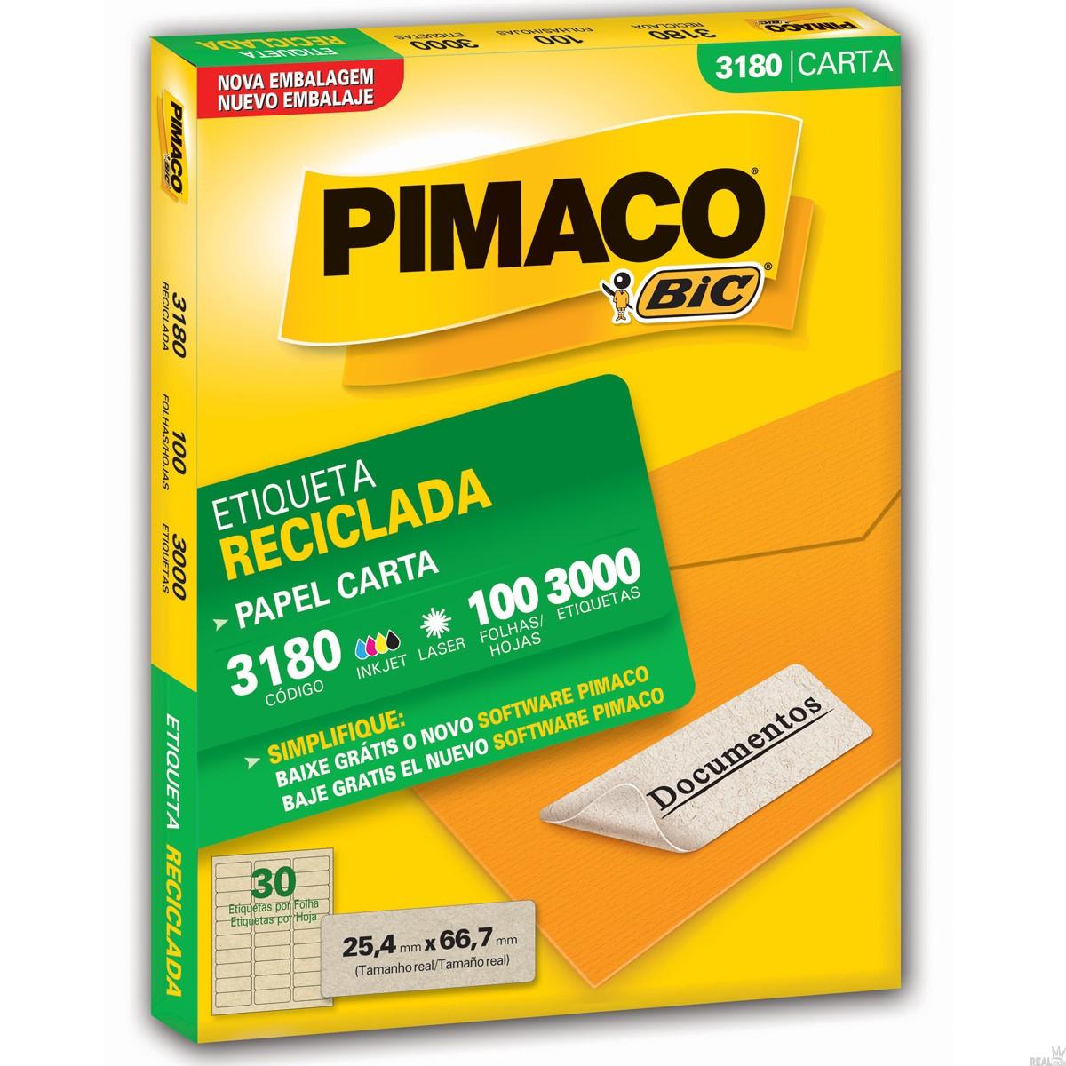ETIQUETA RECICLADA 3180 25,4X66,7 20 P/FL 3000UN PIMACO