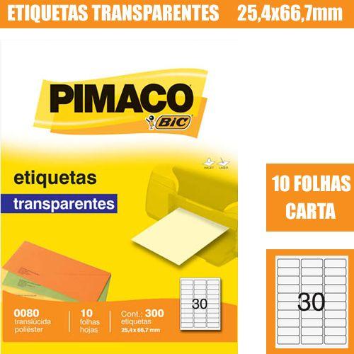 ETIQUETA INKJET E LASER 0080 25,4X66,7MM CRISTAL 300UN PIMACO