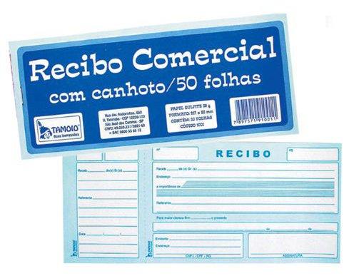 RECIBO COMERCIAL C/CANHOTO 50FL TAMOIO