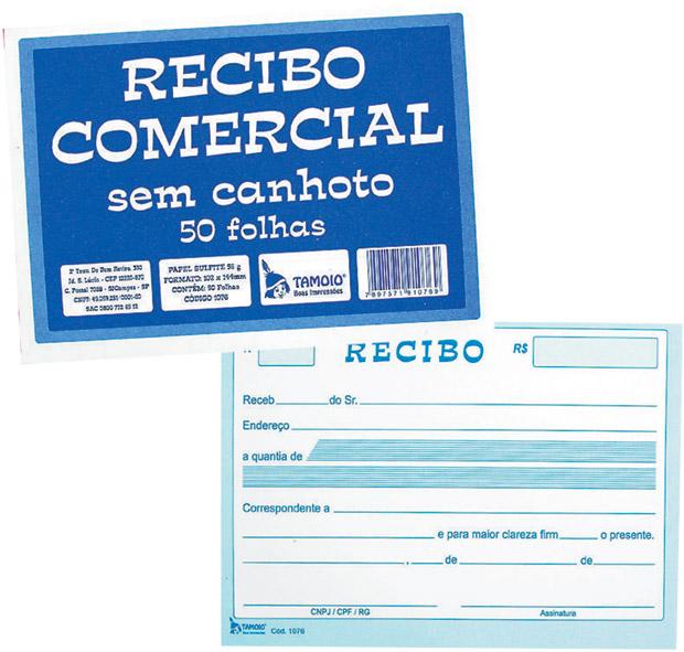 RECIBO COMERCIAL S/ CANHOTO 50FL TAMOIO