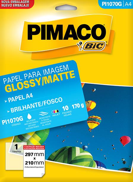 PAPEL GLOSSY 170G BRILHO 210X297MM 10FL PI1070 PIMACO
