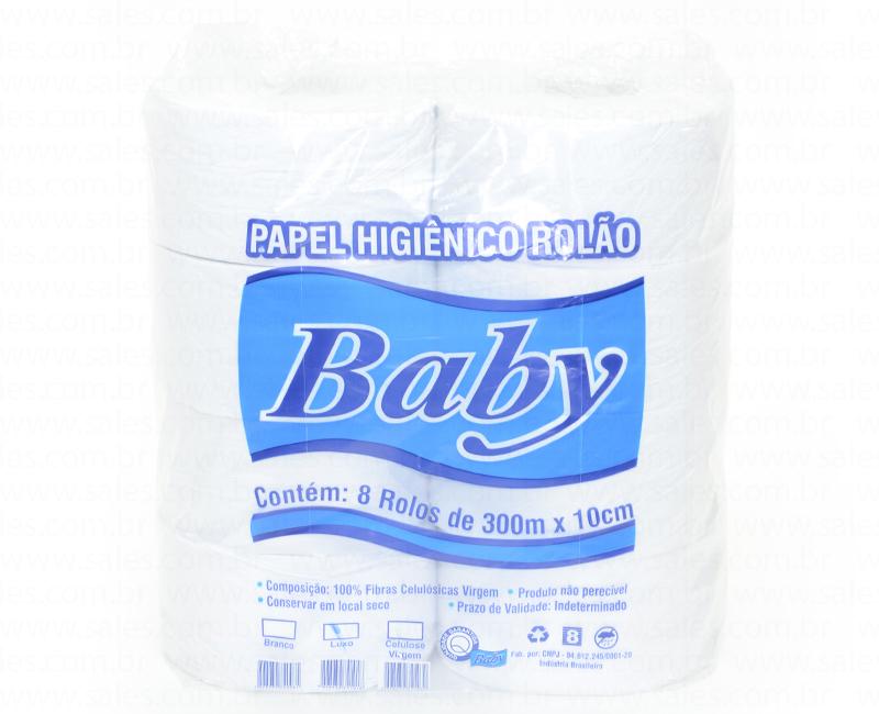 PAPEL HIGIENICO FOLHA SIMPLES ROLAO BRANCO 300M CELULOSE 8UN BABY