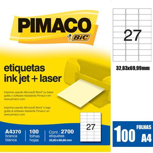 ETIQUETA A4370 32,83X69,66MM 27 P/FL 100FL PIMACO