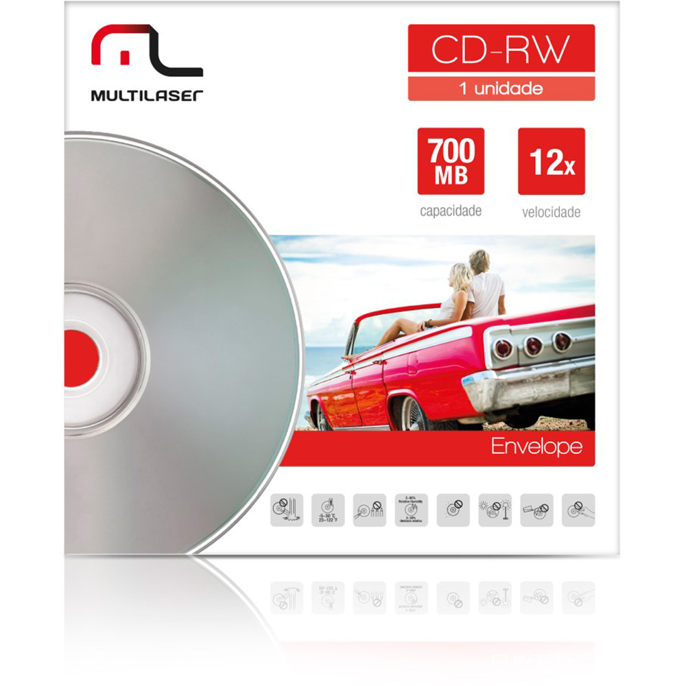 CD-RW 700MB 12X 80MIN ENVELOPE CD037 MULTILASER