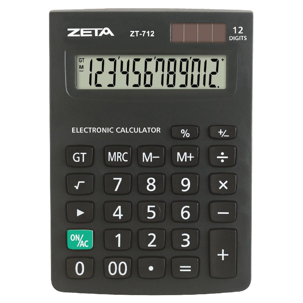 CALCULADORA MESA 12 DIGITOS BATERIA / SOLAR ZT712 ZETA