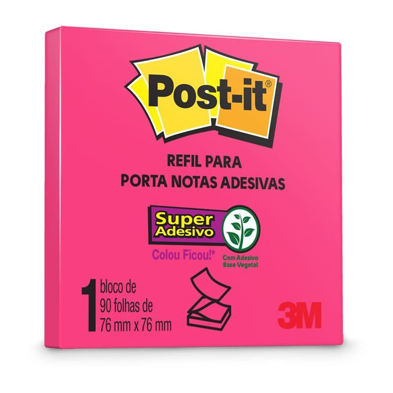 BLOCO ADESIVO 76X76 PINK NEON 90FL POST-IT POP UP ESTILO 3M