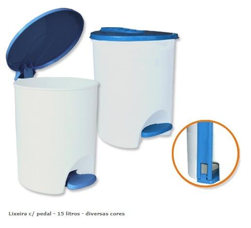 LIXEIRA COM TAMPA E PEDAL 15L BRANCO CORES AGRA PLAST