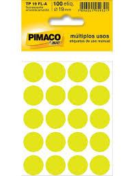 ETIQUETA ADESIVA REDONDA TP-19 AMARELA FLUORESCENTE 19MM 100UN PIMACO