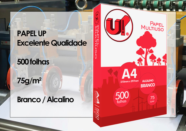 PAPEL SULFITE A4 BRANCO 210X297MM 75G 500FL UP