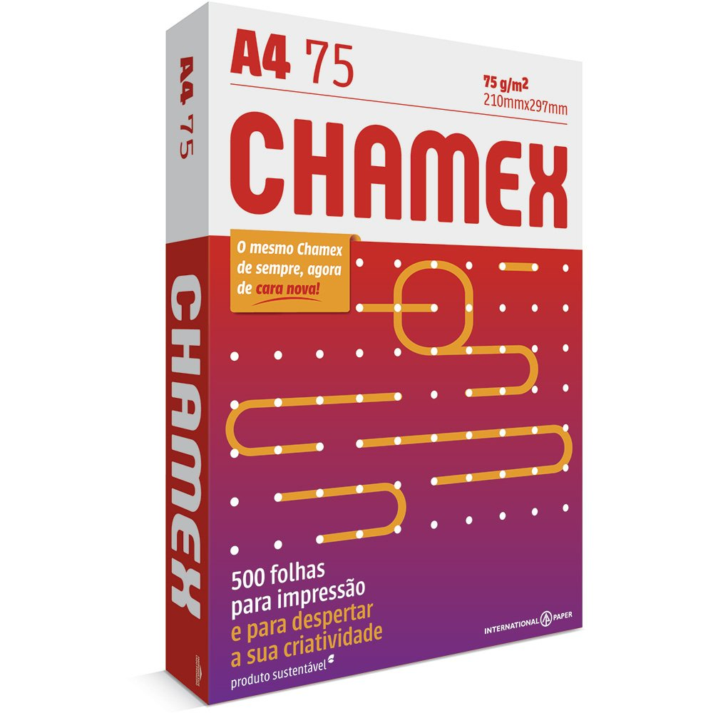 PAPEL SULFITE A4 BRANCO 210X297MM 75G 500FL CHAMEX