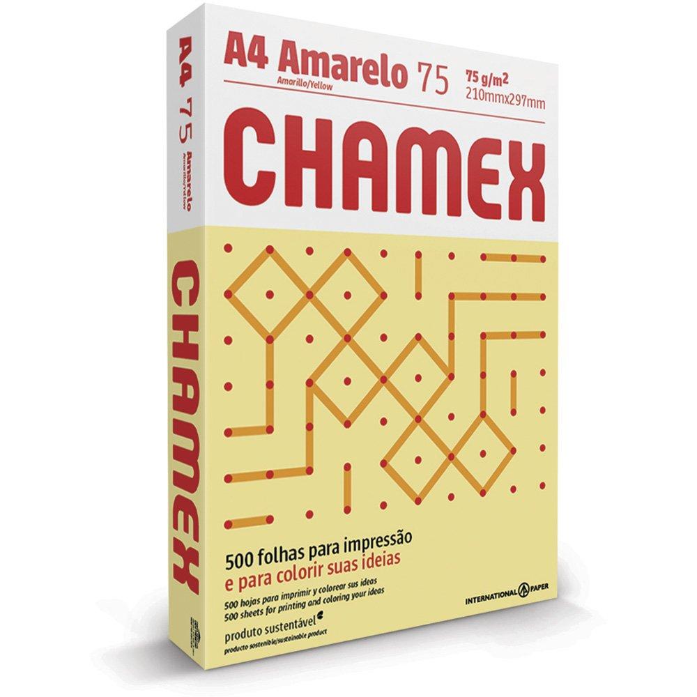 PAPEL A4 (210X297MM) AMARELO 75G 500FL CHAMEX