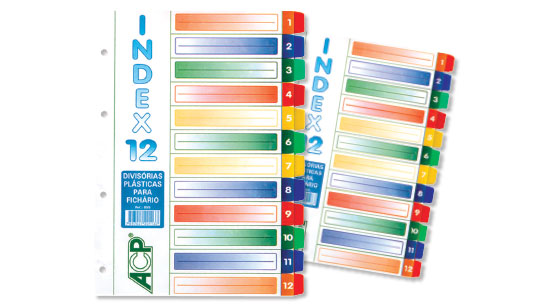 DIVISORIA PLASTICA 12 PROJ A4 (UNIV.) COLOR OPACA 855 ACP