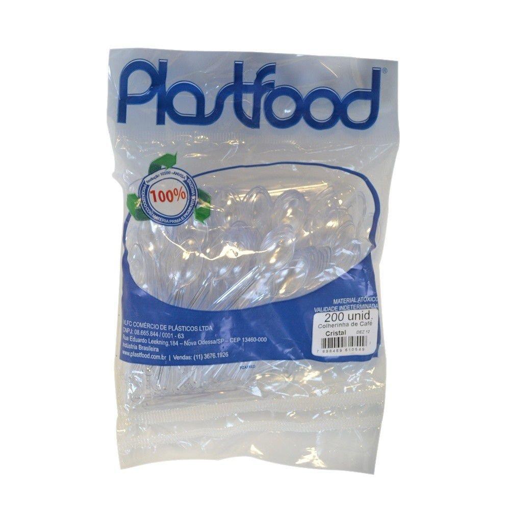 PALHETA PLASTICA PARA CAFE CRISTAL 8,5CM COLHERINHA 200UN PLASTFOOD