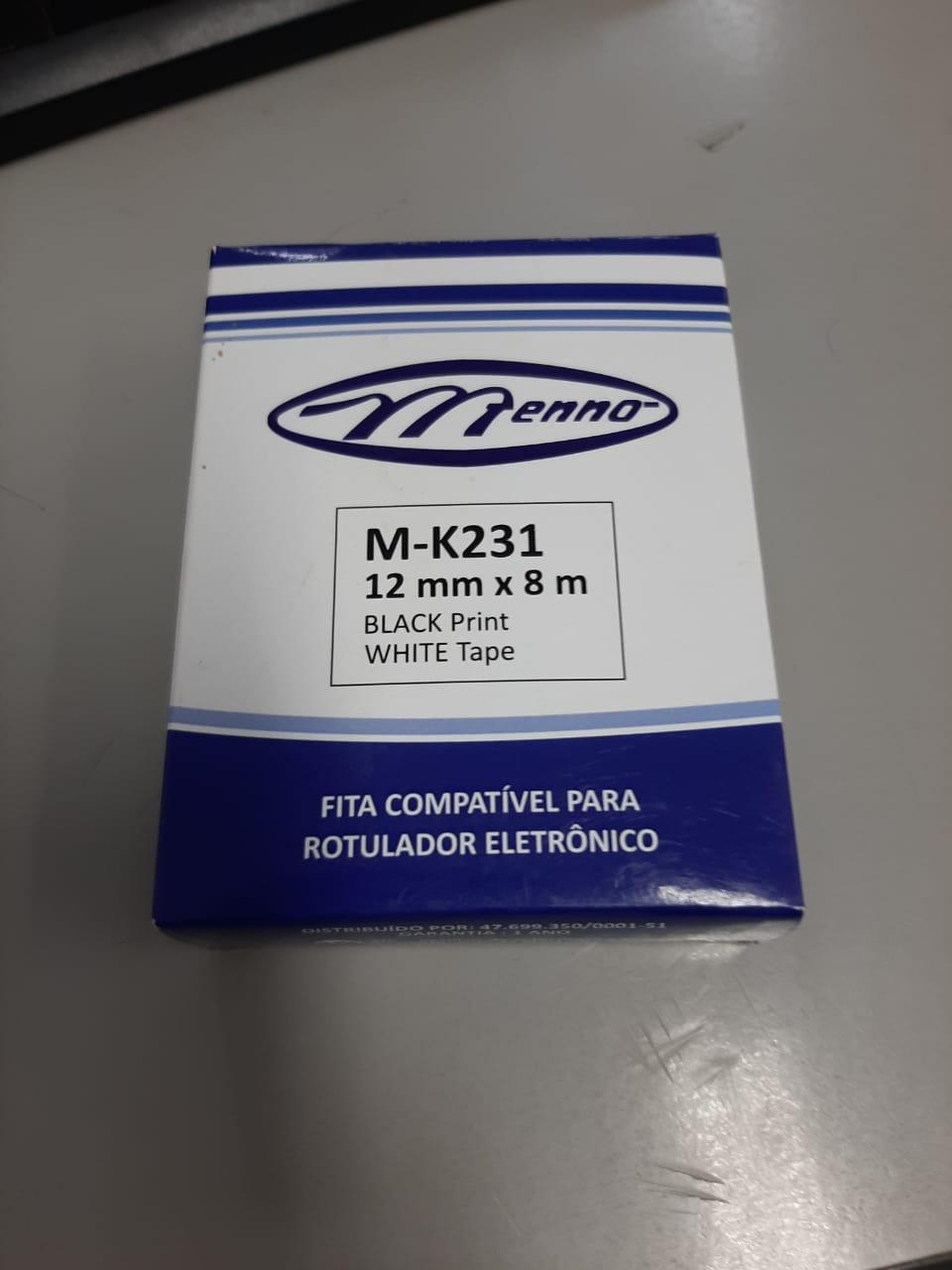 FITA ROTULADOR 12MMX8M BRANCA ESCRITA EM PRETO MK231 MENNO